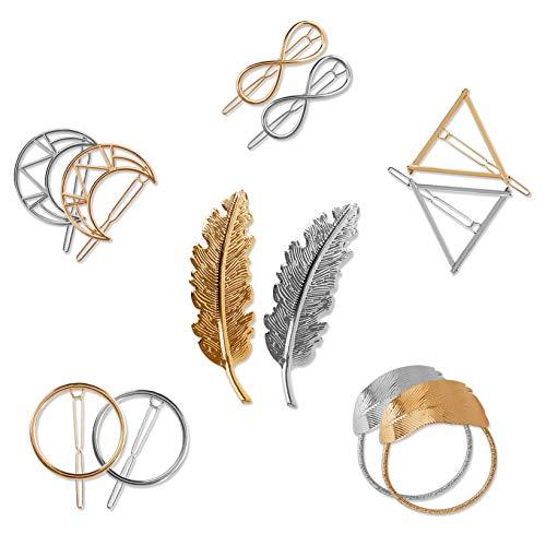 Pinzas para el Pelo de Metal Vintage Hueco Geométrico Horquillas Pelo Clip Abrazaderas Triángulo Círculo Luna Clips de Pelo para Mujeres y Chicas 12 Piezas (Oro y Plata)