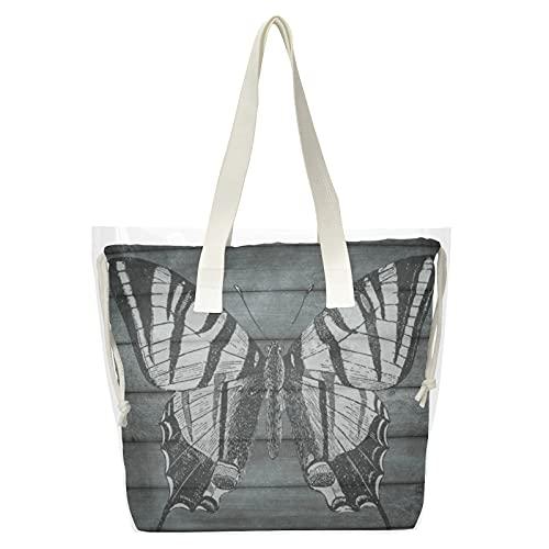 Bolso de mano transparente de madera con listones de madera, 2 en 1, con bolsillo interior para playa, compras, deportes y trabajo
