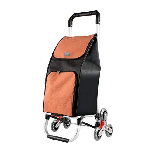 IPOUJ Escalera S Escalada Carro de Compras Carro de comestibles, Carro pequeño Carro Plegable, Carro de aleación de aleación de Aluminio para el hogar Supermercados Compra Orange