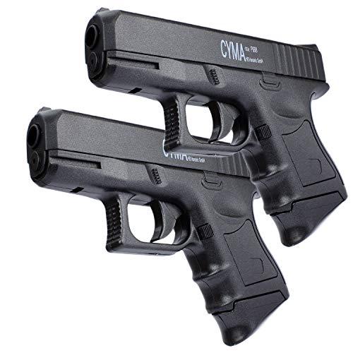 Softair MID Pistole Airsoft Gun + Munition | P698 | 20cm. Inkl. Magazin & 0,5 Joule | Doppelpack