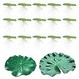 POPETPOP Decoración de Tanque de Peces Flotantes Artificiales Planta Flotante Agua Hoja de Loto Acuario Peces Estanque Decoración 1 Juego Verde