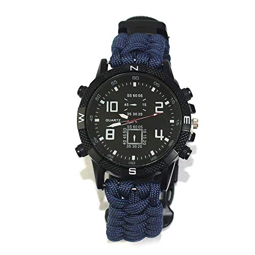 FGFGN Outdoors Running 5ATM Waterdichte Militaire Horloges, Multi-Action Horloge, Whistle Mountaineering Compass, outdoor survival horloge, geschikt voor outdoor bergbeklimmen reizen avontuur, size, Blauw
