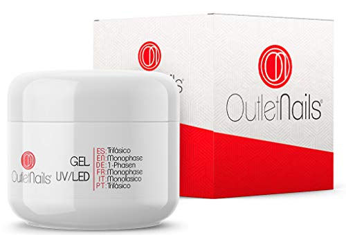 Gel Trifasico UV/LED 50ml para Uñas de OUTLET NAILS, transparente, Viscosidad media, Monophase Gel UV/LED/Monofasico