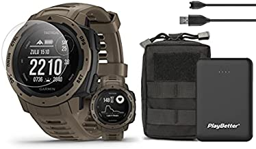 Garmin Instinct Tactical (Coyote Tan) Outdoor GPS Watch Tactical Bundle | with Tactical Accessories Pouch, Screen Protectors & PlayBetter Portable Charger | Stealth Mode | Ultimate Outdoorsman Watch