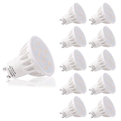 LOHAS Confezione da 10 Lampadine LED GU10 6Watt, Equivalenti a Lampadine Alogene da 50Watt, 500lm, Luce Bianca Calda, 3000K, Lampadine LED Non Dimmerabili