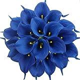 Tifuly 24 Piezas de Lirios Artificiales de látex, Ramos de Flores Falsos de Lirio de Tallo Realista para el hogar, Bodas, Fiestas, decoración de oficinas, arreglos Florales (Azul Real)