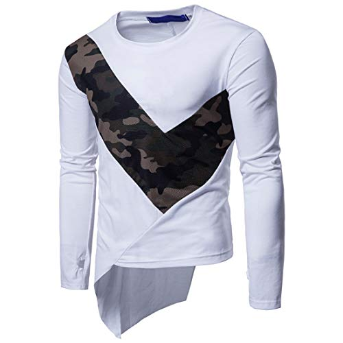 Men's Shirt Basic Slim Fit Lightweight Tops Round Neck Long Sleeve Camouflage Patchwork Asymmetrical T-Shirt Fashion Breathable Classics Party Performance Novelty Shirt Top L