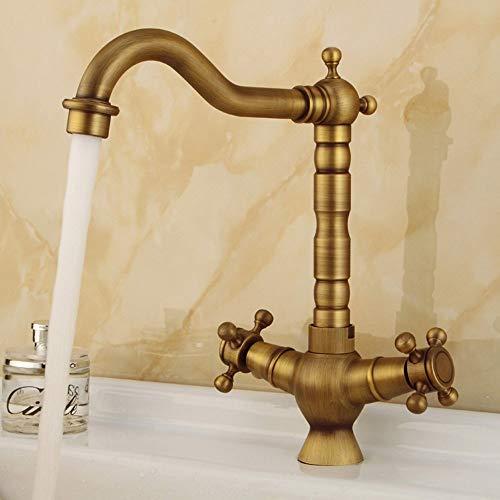 Grifo mezclador de latón envejecido para baño, estilo rústico, cepillado, dos tiradores en cruz, válvula para lavabo, grifo para lavabo con desagüe ampliado