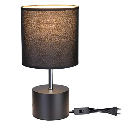 LE Lámpara de escritorio E27 portalámparas, tela redonda, base de hierro forjado, 220 – 240 V CA, niveles de brillo, lámpara para mesita de noche, ideal para salón, mesa de café, oficina