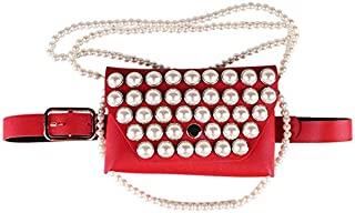 TOOGOO Women'S Fashion Shoulder Shoulder Bag Beaded Decorative Pocket Pearl Dual-Use Mobile Phone Pocket Belt Black