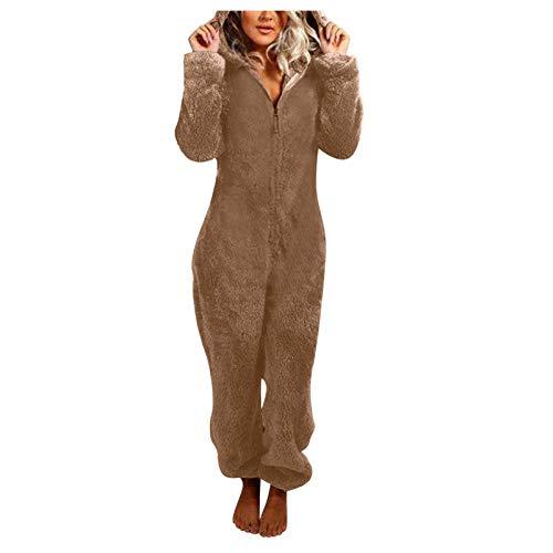 KEERADS - Mono de pijama unisex con orejas de gato, de patchwork, de una pieza, de manga larga, ropa de noche, traje, de peluche suave y esponjoso Caqui-a. XXL