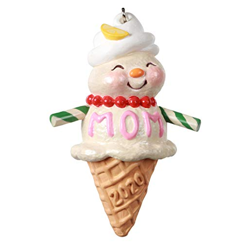 Hallmark Keepsake Christmas Ornament 2020 Year-Dated, Moms Are Sweet Snow Lady Ice Cream Cone