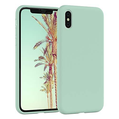 EAZY CASE Premium Silikon Handyhülle kompatibel mit Apple iPhone X/XS, Slimcover mit Kameraschutz & Innenfutter, Silikonhülle, Schutzhülle, Bumper, Handy Hülle, Hülle, Softcase, Mint Grün
