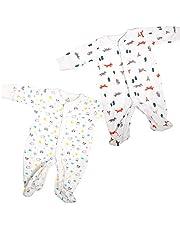 VIC & VAL Pijama para bebés, Pack de 2, 100% algodón con Abertura Delante