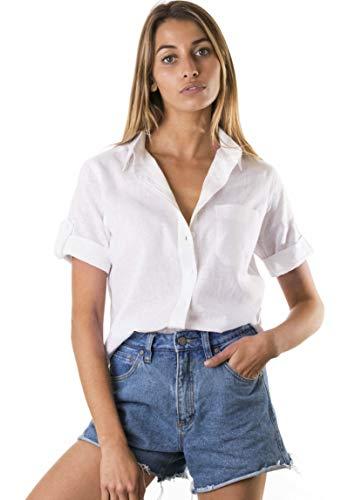 CAMIXA Casual hemd van koele linnen mix borstzak korte mouwen blouse nonchalante top