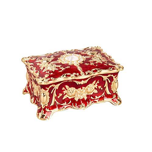 Feyarl Vintage Trinket Box Rectangle Jewelry Box Wedding Ring Box Treasure Box Chest Ornate Antique Finish Engraved Organizer Storage Christmas Wedding Birthday Gift (Red) 4.72 x 3.34 x 2.24inch