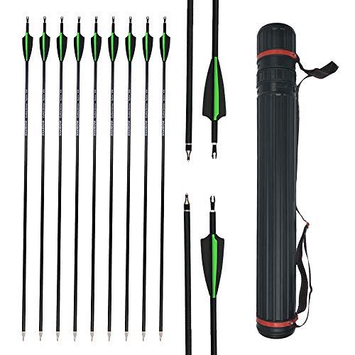 AMEYXGS 12 Piezas Tiro con Arco de Flechas de Carbono 30 Pulgadas Flechas de Práctica de Tiro Spine 500 con Flechas Carcaj para Cazar y Disparar