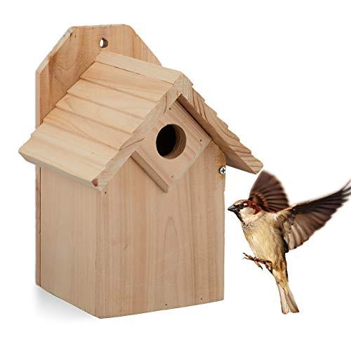 Relaxdays Nistkasten für Vögel, 32 mm Einflugloch, Vogelhaus zum Aufhängen, unbehandeltes Holz, HBT: 25x19x16 cm, Natur