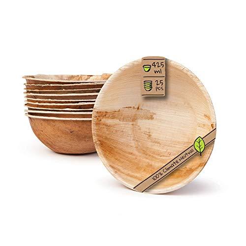 BIOZOYG Umweltfreundliches Einweggeschirr aus Palmblättern | 25 Stück Palmblatt Schale rund 425ml Ø15cm | Salat-Schüssel Dipschalen Suppenschale Servierschale Snackschale Einwegschale