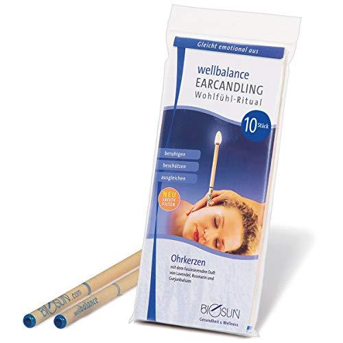 BIOSUN Wellbalance Ohrenkerzen 10 Stück (5 Paar) Mit Sicherheits-Filter. Faszinierender Duft Von Lavendel, Rosmarin Und Gurjunbalsam