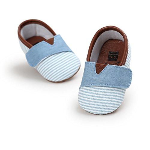 Zapatos de Bebe Raya Primeros Pasos, Morbuy Niño y Niña Recién Nacido Cuna Suela Blanda Antideslizante Zapatillas