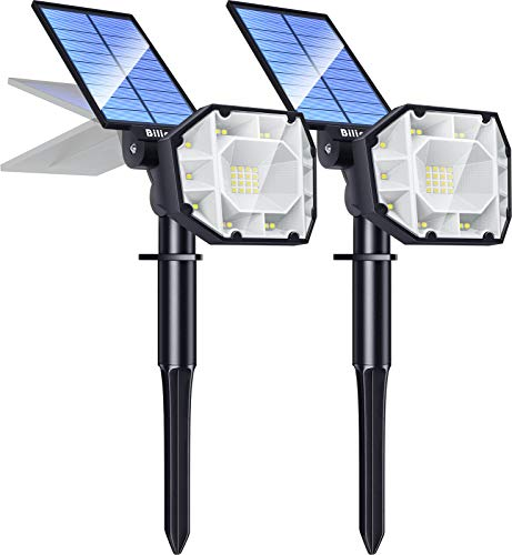 Biling 30 LED Solar Landscape Lights Spotlight, 2-in-1 Bright Solar Lights Outdoor Landscaping Spotlights, Adjustable Garden Spot Lights Solar Powered IP65 Waterproof Wall Lights 2 Pack White