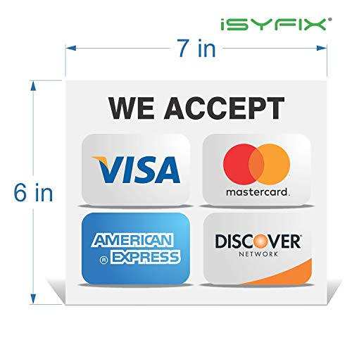 """Size 4/"""" X 6/"""" VictoryStore Stickers Set of 2 PayPal Credit Card Sign Vinyl Stickers"""