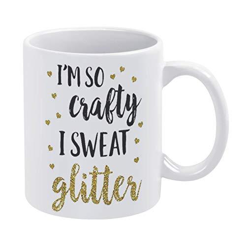 Mug-Im So Crafty I Sweat - Taza de café con purpurina y texto en inglés 'Crafter I Sweet', regalo para mamá y café, 15 onzas