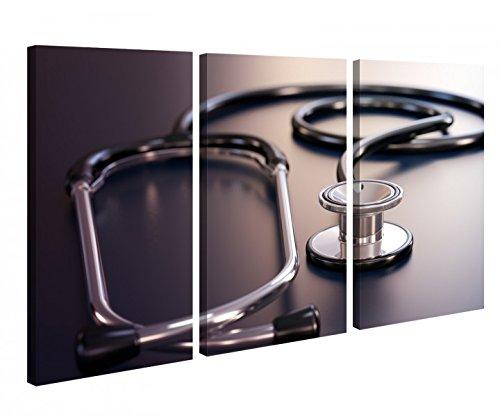 Leinwandbild 3 Tlg Stetoskop Stethoskop Puls Arzt Beruf Medizin Symbol Leinwand Bild Bilder Holz fertig gerahmt 9P1016, 3 tlg BxH:120x80cm (3Stk 40x 80cm)