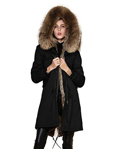 Lea Marie Parka XXL Kragen aus 100% ECHTPELZ ECHTFELL Jacke Mantel Schwarz 6 Farben (M 36, Natur)