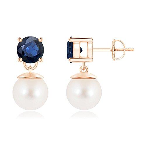 Cyber lunes–dos piedra agua dulce perla cultivada y zafiro pendientes colgantes