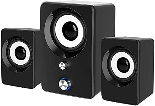 Altoparlanti perComputer,Altoparlante Audio Stereocon Subwoofer, Alimentazione USB 2.1,Ingresso Aux da 3,5 mm, Controllo del Volume per PC, Desktop, Laptop, Telefono, Cellulare
