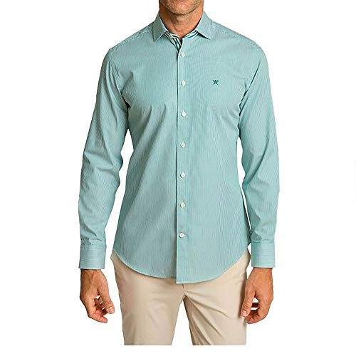 Hackett London Fine Bengal Stripe Camisa, Verde y Blanco, XL para Hombre
