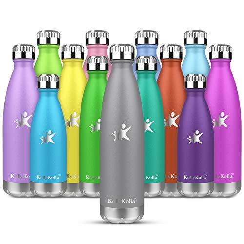 KollyKolla Botella de Agua Acero Inoxidable, Termo Sin BPA Ecológica, Botellas Termica Reutilizable Frascos Térmicos para Niños & Adultos, Deporte, Oficina, Yoga, Ciclismo, (750ml Gris Fresco)