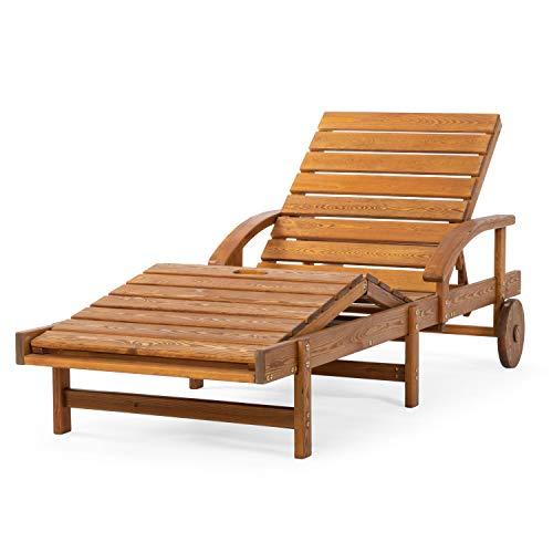 Ampel 24 Liegestuhl Susanne mit Räder,verstellbare Rückenlehne und Fußstütze,Sonnenliege mit Armlehnen, Gartenmöbel aus Holz,wetterfeste Gartenliege
