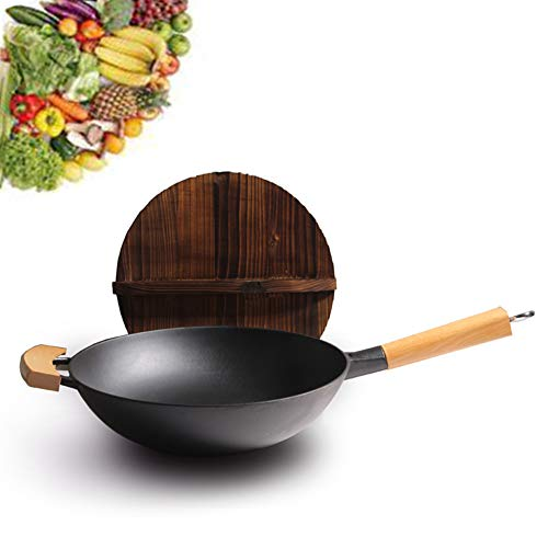 32 Chinese Traditional Vintage Iron Wok Non-coating Manual Forging Wok with Wooden Cover Gas Cooker