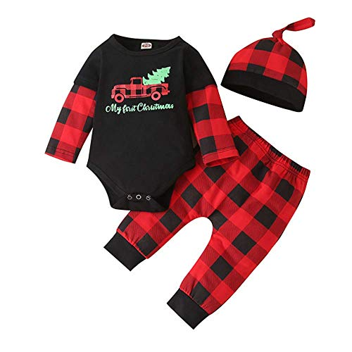 Newborn Baby Boy Christmas Outfits My 1st Christmas Romper+Xmas Plaid Pants Hat Clothes Sets (Black, 0-3 Months)