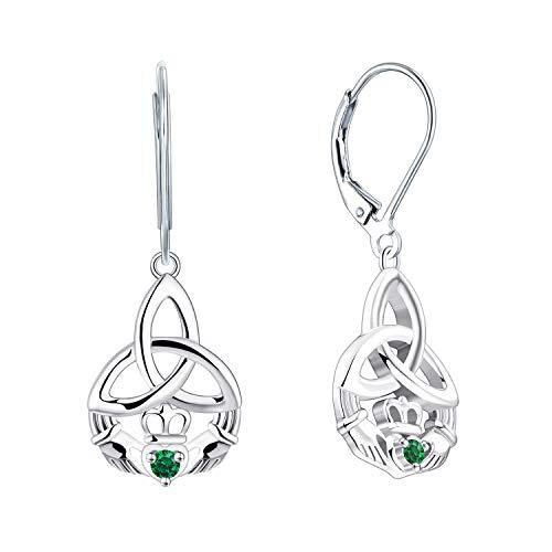 JO WISDOM Women Claddagh Earrings,925 Sterling Silver Irish Celtic Claddagh Love Heart Drop & Dangle Leverback Earrings with Green Emerald