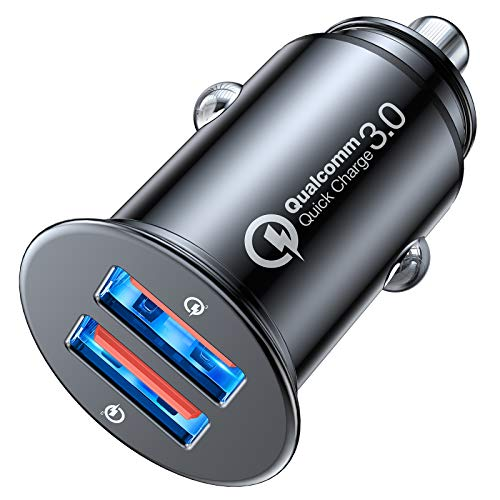 OULUOQI Car Charger, [Dual QC3.0 Port] 36W/6A Fast Car Charger Adapter, Mini All-Metal USB Car Charger, Cigarette Lighter USB Charger Compatible with iPhone 12/12 Pro/12 Mini/12 Pro Max/11 - Black