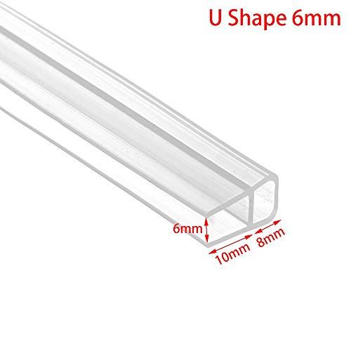 1 Mt 6-12mm Silikonkautschuk Fensterglas Dichtungsstreifen F U h Form Glastür Dichtungsstreifen Bad Bildschirm Tür Dichtungsstreifen Hardware duschdichtung (Color : U Shape 6mm)
