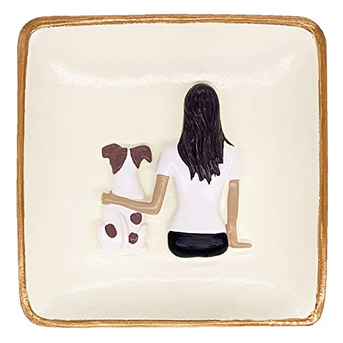 Agantree art Dog Mom Gifts Ring Holder Dish Trinket Tray - Birthday Gifts for Friends