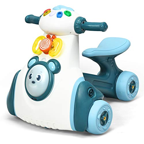 COSTWAY Baby Balance Bike, No Pedal Toddler Walker with Light, Music and Kangaroo Drum, Ride on Toy Push Bikes for 1-2 Year Old Boys Girls (Blue)