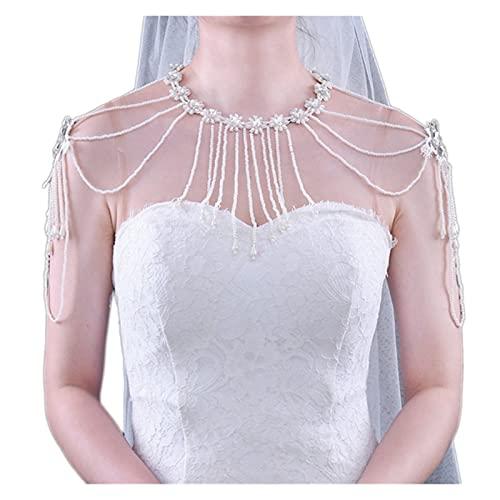baidicheng Collar de borlas de perlas de cristal sintético con cadena de hombro y cadena de babero para baile de graduación