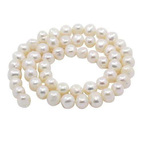 PandaHall Perline di Perla d'Acqua Dolce Grado A, Rotondo,Bianco,8~9mm, Foro: 0.5mm; 14.1~14.5'