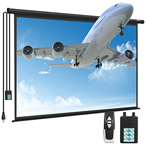 Motorized Projector Screen - Kapwan 100' 4K 3D HD Portable Projector Screen Pull Down with Wireless...