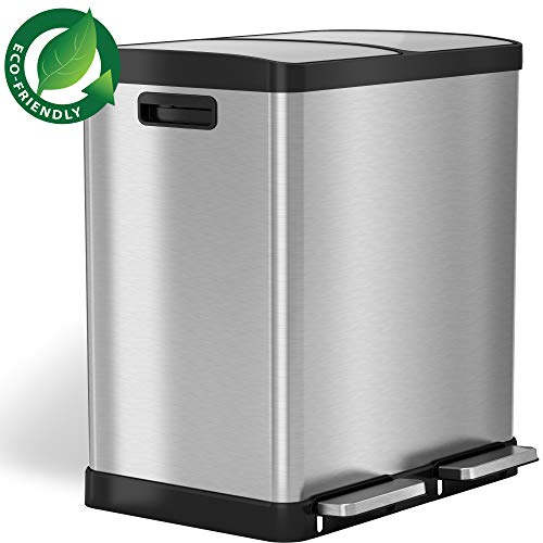 iTouchless 16 Gallon Dual Step Trash Can amp Recycle Stainless Steel Lid and Bin Body with Handle Includes 2 x 8 Gallon 30L Removable Buckets are ColorCoded Softclose and Airtight Lid
