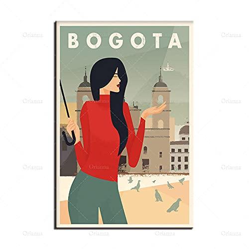 zuomo Póster de Bogotá, Lienzo de Viaje, póster de monserrate, impresión de la Plaza de bolívar, impresión de Arte de Colombia, decoración Moderna para el hogar, 50x70 cm, sin Marco