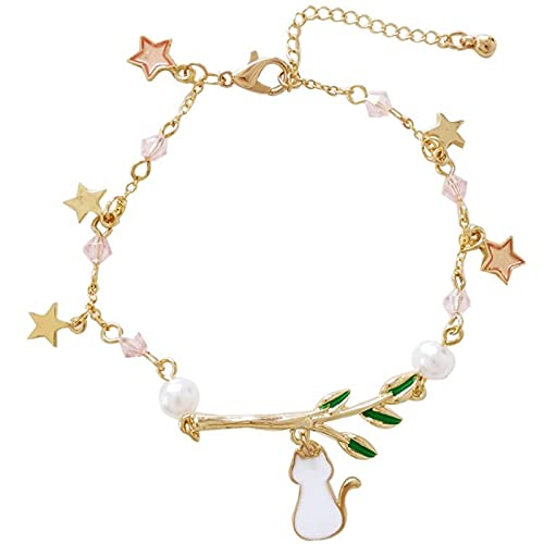 ShZyywrl Pulsera Kitten Leaf Star Joyas De Pulsera con Colgante De Perlas De Cristal Rosadas