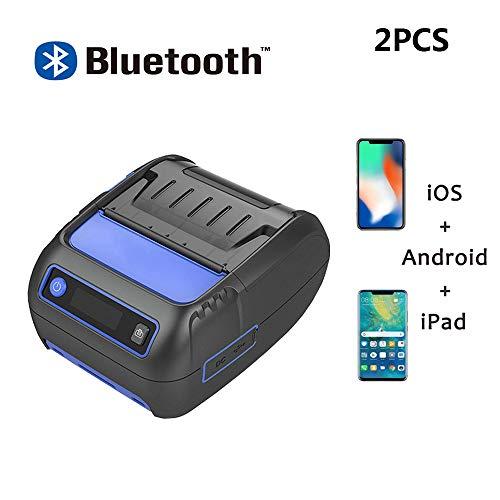 Mini-Imprimante D'étiquettes Thermique Portable 58MM Imprimante Universelle Sans Fil Avec Ticket De Ticket Bluetooth Étiquette D'autocollant Barcode Print Machine Support Android IOS Windows 2Pièces