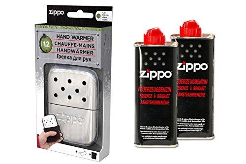 Zippo Lot de chauffe-mains de qualité supérieure - Chromé - Grande autonomie de 12 heures + 2 x essence.